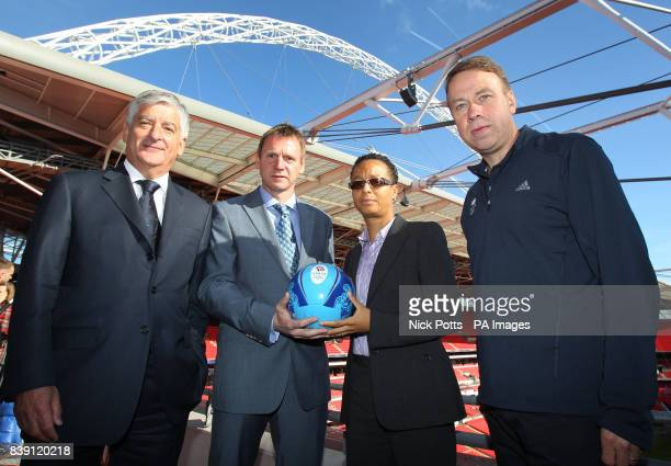 FA Chairman David Bernstein Womens GB football team manager Hope Powell Mens GB football team manager Stuart Pearce and Team GB Chef de Mission Andy...