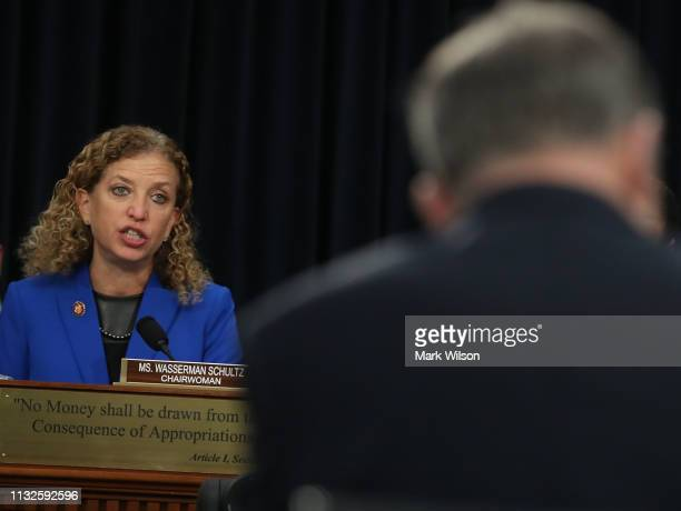 Chairman Deborah Wasserman Schultz speaks during a House Appropriations Committee on February 27 2019 in Washington DC The committee is hearing...