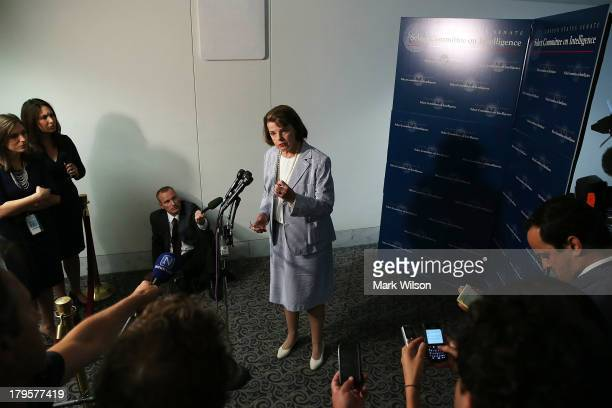 Chairman Dianne Feinstein speaks to the media after meeting with members of the intelligence community during a Senate Select Intelligence Committee...