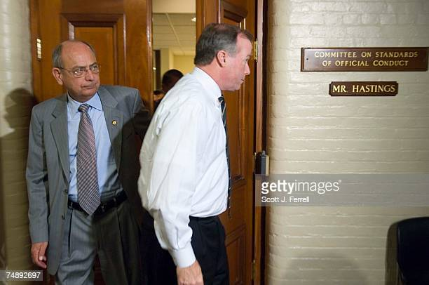 Chairman Doc Hastings RWash emerges with aide Ed Cassidy after House Speaker J Dennis Hastert testified Tuesday for more than two and half hours...