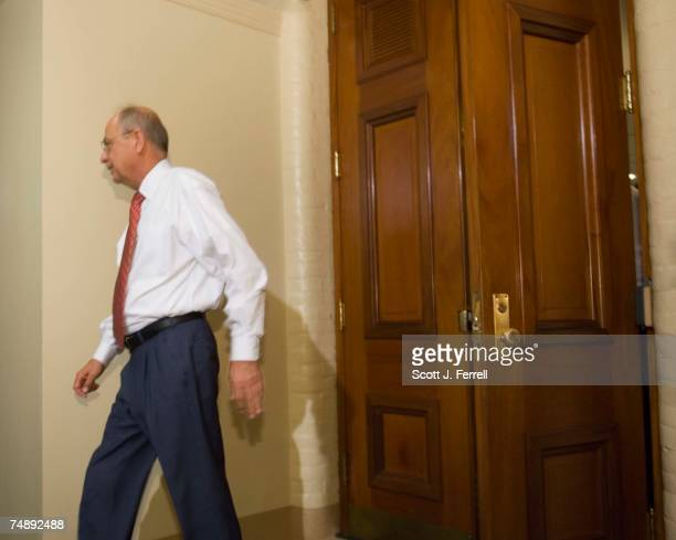 Chairman Doc Hastings RWash exits for a break during questioning of former House Clerk Jeff Trandahl before the House ethics panel Trandahl is a...