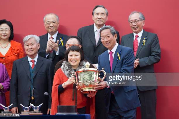 Chairman Dr Simon Ip presents the Chinese New Year Cup trophy to Dundonnell's owner Elizabeth Lee Ho Ling at Sha Tin racecourse on February 18 2018...