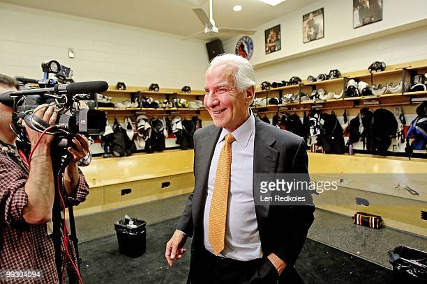 Chairman Ed Snider of the Philadelphia Flyers smiles in the locker room after his team defeated the Boston Bruins 21 in Game Six of the Eastern...