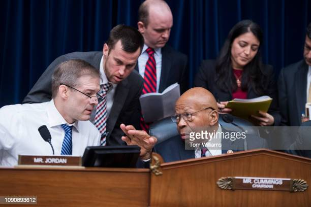Chairman Elijah Cummings DMd and ranking member Rep Jim Jordan ROhio conduct a House Oversight and Reform Committee business meeting in Rayburn...