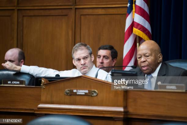 Chairman Elijah Cummings DMd right and ranking member Rep Jim Jordan ROhio are seen during a House Oversight and Reform Committee hearing in Rayburn...