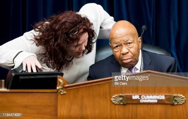 Chairman Elijah Cummings DMd speaks with staff before the start of the House Oversight and Reform Committee markup of a resolution authorizing...