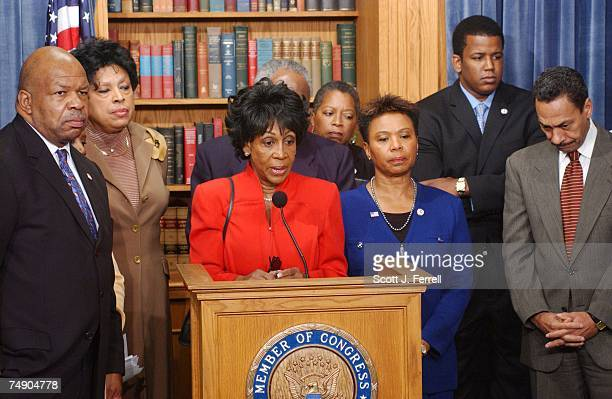 Chairman Elijah E Cummings DMd Diane Watson DCalif Maxine Waters DCalif speaking Danny Davis DIll obscured Del Donna ChristianChristensen Barbara Lee...