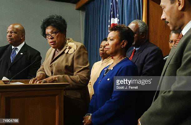 Chairman Elijah E Cummings DMd Diane Watson DCalif speaking Sheila JacksonLee DTexas Barbara Lee DCalif Danny Davis DIll and Melvin Watt DNC during a...