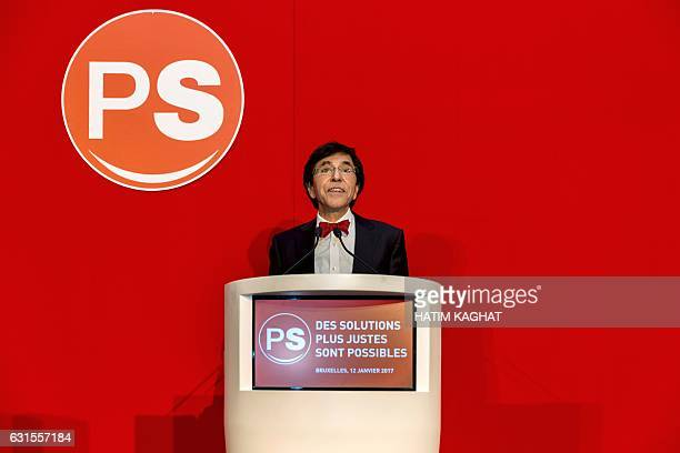 PS chairman Elio Di Rupo delivers a speech at the New Year reception of Frenchspeaking socialist party PS in Brussels on January 12 2017 / AFP /...