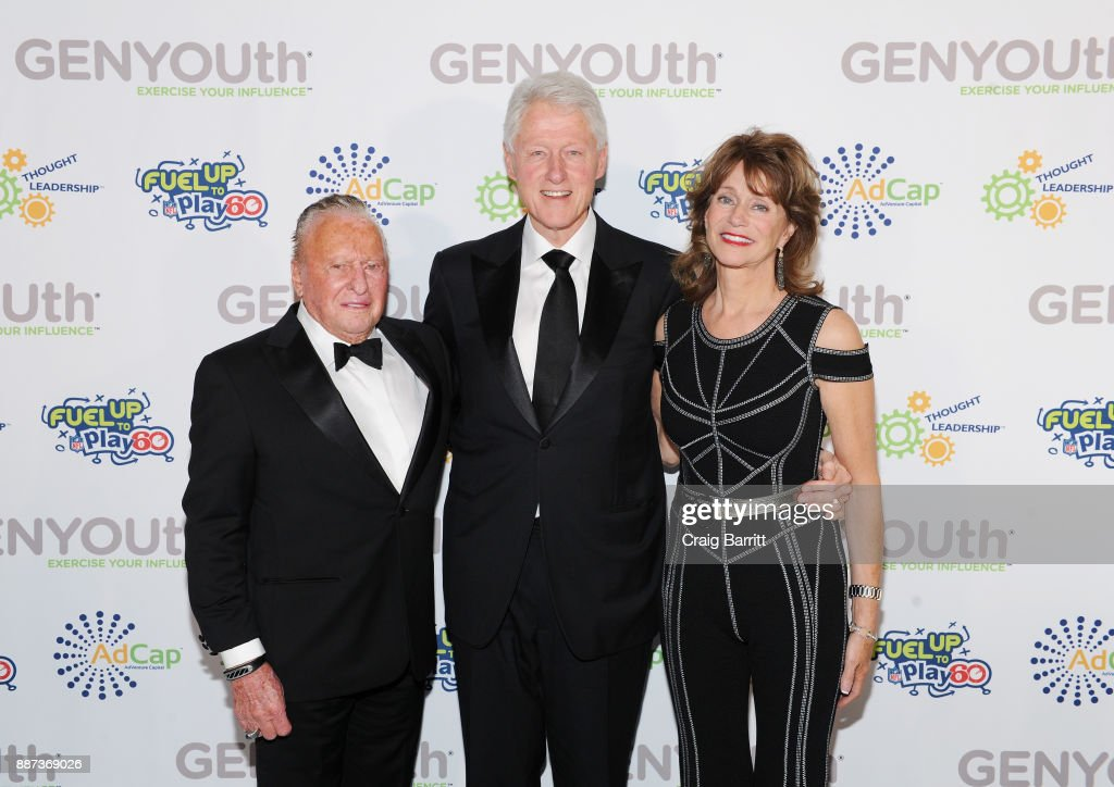 Chairman Emeritus of Knapp Properties Bill Knapp, former U.S. President Bill Clinton, and Susan Knapp attend the Second Annual GENYOUth Gala at Intrepid Sea-Air-Space Museum on December 6, 2017 in New York City.