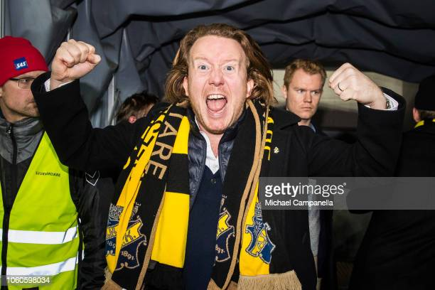 AIK chairman Eric Ljunggren celebrates winning the 2018 Allsvenskan season during an Allsvenskan match between Kalmar FF and AIK at Guldfageln Arena...