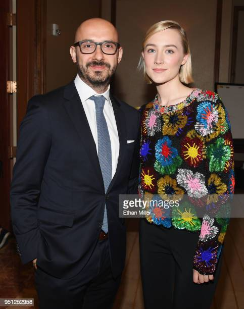 Chairman Focus Features Peter Kujawski and actor Saoirse Ronan attend the CinemaCon 2018 Focus Features Presentation at Caesars Palace during...