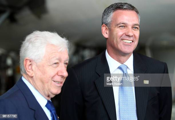 Chairman Frank Lowy and FFA CEO Ben Buckley are pictured before a press conference to unveil the Football Federation World Cup bid livery on a Qantas...