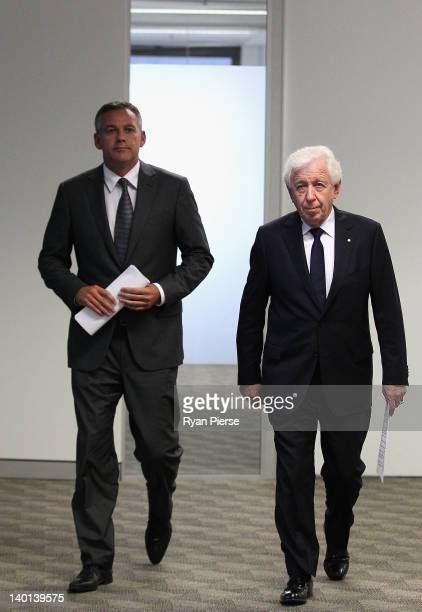 Chairman Frank Lowy and FFA CEO Ben Buckley arrive at an FFA press conference at the Football Federation Australia Offices on February 29, 2012 in...