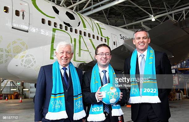 Chairman Frank Lowy, Qantas CEO Alan Joyce and FFA CEO Ben Buckley pose for a photo during a press conference to unveil the Football Federation World...