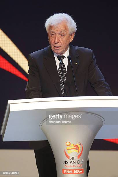 Chairman Frank Lowy speaks on stage prior to the final draw for the 2015 AFC Asian Cup draw at Sydney Opera House on March 26 2014 in Sydney Australia