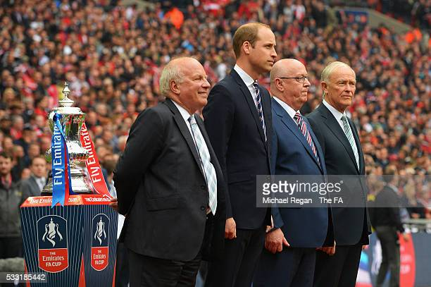 Chairman Greg Dyke and Prince William, Duke of Cambridge stand next to the FA Cup Trophy prior to The Emirates FA Cup Final match between Manchester...
