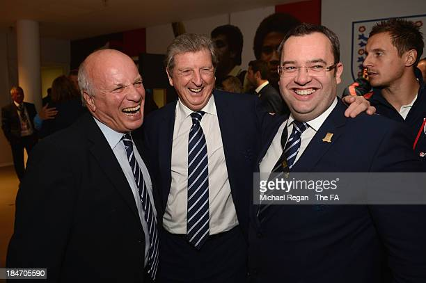 Chairman Greg Dyke, England manager Roy Hodgson and FA General Secretary Alex Horne smile after the FIFA 2014 World Cup Qualifying Group H match...
