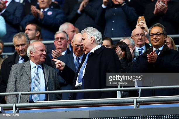FA chairman Greg Dyke Everton chairman Bill Kenwright and Everton owner Farhad Moshiri during The Emirates FA Cup semi final match between Everton...