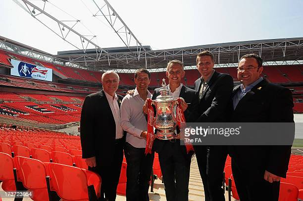 Chairman Greg Dyke, Michael Owen, Gary Lineker, Jake Humphrey and the FA General Secretary Alex Horne pose for the camera as the BBC and BT Sport...