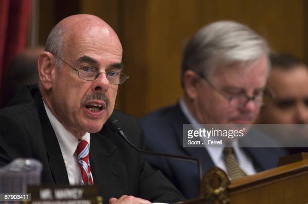Chairman Henry A Waxman DCalif and ranking member Joe L Barton RTexas during the House Energy and Commerce markup of its climate change bill the...