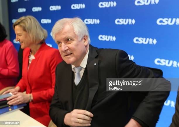 CSU chairman Horst Seehofer Angelika Niebler Dorothee Baer and Manfred Weber The board of the Christian Social Union met to discuss after the end of...