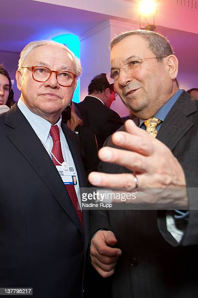 DLD chairman Hubert Burda and Israeli Defense Minister Ehud Barak attend the Burda DLD Nightcap 2011 at the Steigenberger Belvedere hotel on January...