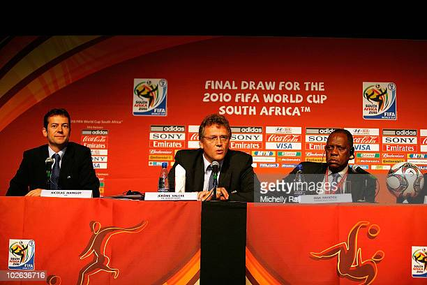 Chairman Issa Hayatou FIFA Secretary General Jerome Valcke and OC Chairman Dr Irvin Khoza attend a Press Conference for the Organizing Committee of...