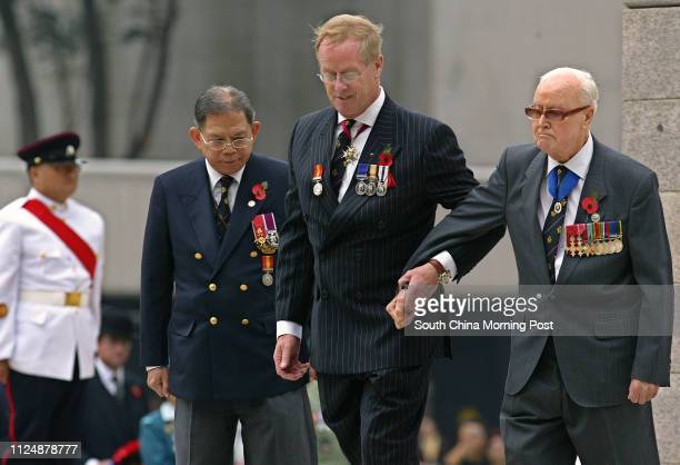 Chairman Jack Edwards and president Christopher Hammerbeck of the Royal British Legion Hong Kong and China branch attend the Remembrance Day to...