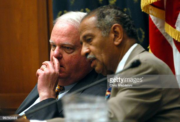 Chairman James Sensenbrenner RWi talks with Rep John Conyers DMi at the House Judiciary Committee They met on PartialBirth Abortion with a full...