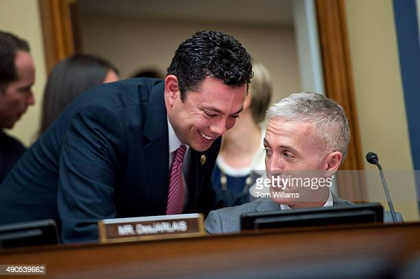 Chairman Jason Chaffetz RUtah left talks with Rep Trey Gowdy RSC during a House Oversight and Government Reform Committee hearing in Rayburn Building...