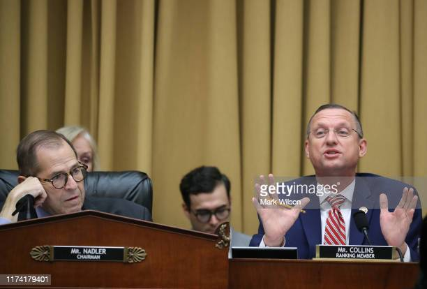 Chairman JerryNadler and ranking member Rep Doug Collins participate in a House Judiciary Committee markup on September 12 2019 in Washington DC The...