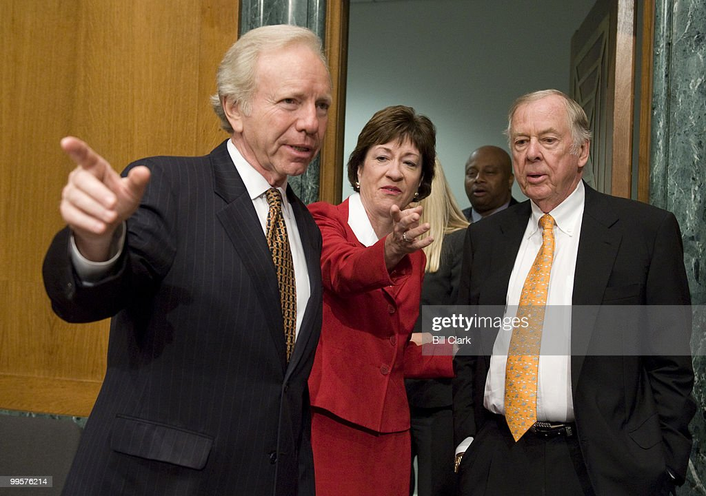 Chairman Joe Lieberman, I-Conn., and Sen. Susan Collins, R-Maine, show T. Boone Pickens, founder and CEO of BP Capital Management, the way to the witness table before the start of the Senate Homeland Security and Governmental Affairs Committee hearing on 'Energy Security: An American Imperative,' on Tuesday, July 22, 2008.