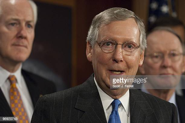 NRSC Chairman John Cornyn RTexas Senate Minority Leader Mitch McConnell RKy and Senate Republican Conference Chairman Lamar Alexander RTenn during a...