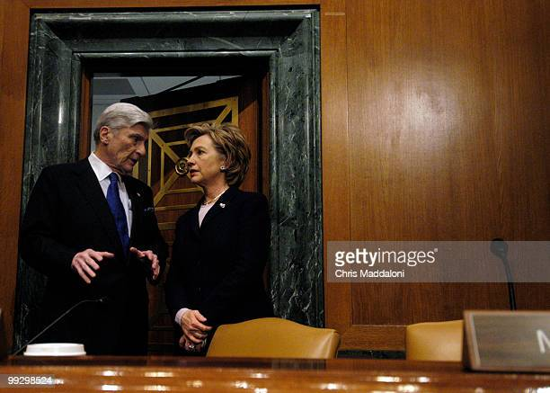 Chairman John Warner RVa and Sen Hillary Clinton DNY at a Senate Armed Services Committee briefing on national security implications of the...