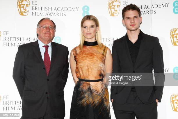 BAFTA chairman John Willis Alice Eve and Jeremy Irvine attend The EE British Academy Film Awards nominations announcement at at BAFTA on January 9...