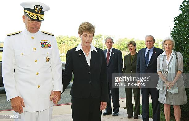 US Chairman Joint Chiefs of Staff Admiral Mike Mullen his wife Debra Mullen former US President George W Bush former US First Lady Laura Bush former...