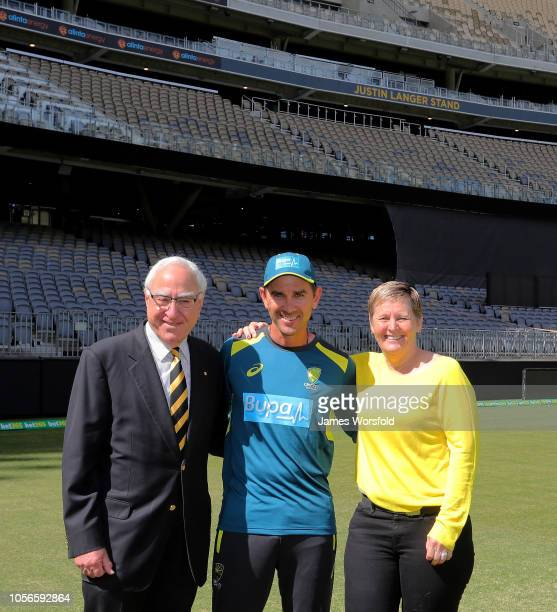 Chairman Ken Michaels Justin Langer and Christina Matthews pose for a photo for the unveiling of the new Justin Langer Stand during a One Day...