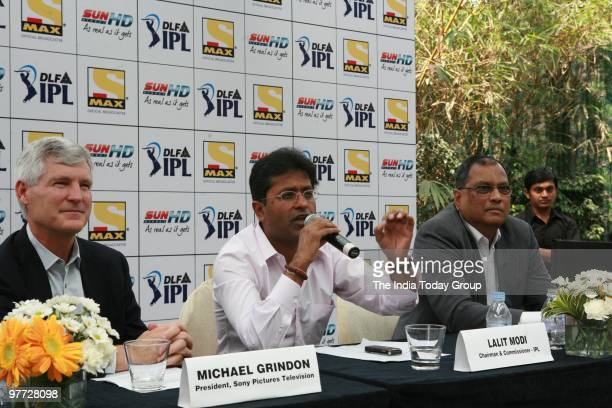 IPL chairman Lalit Modi along with Michael Grindon president Sony pictures television and Tony D Silva at a press conference on Friday March 12 2010