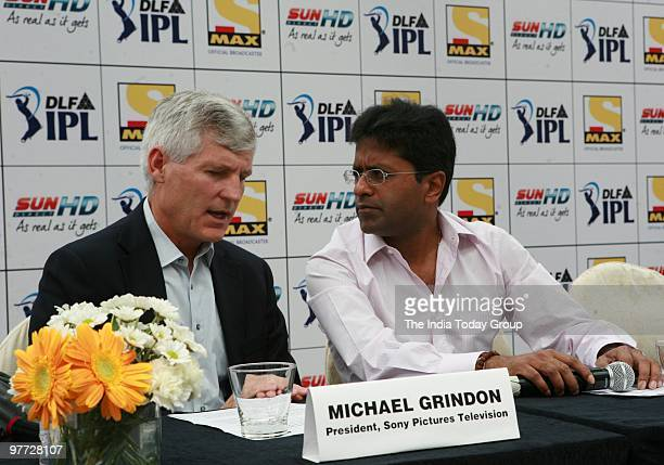 IPL chairman Lalit Modi along with Michael Grindon president Sony pictures television at a press conference on Friday March 12 2010