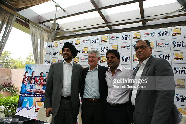 IPL chairman Lalit Modi along with Michael Grindon president Sony pictures television NPSingh coo multi screen media pvt ltd and Tony D Silva at a...