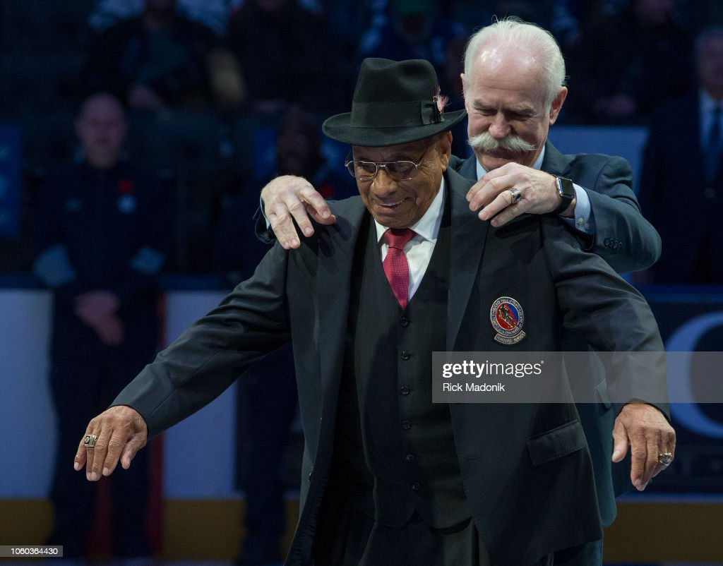.................. during 1st period action of the Legends Classic Game. : News Photo