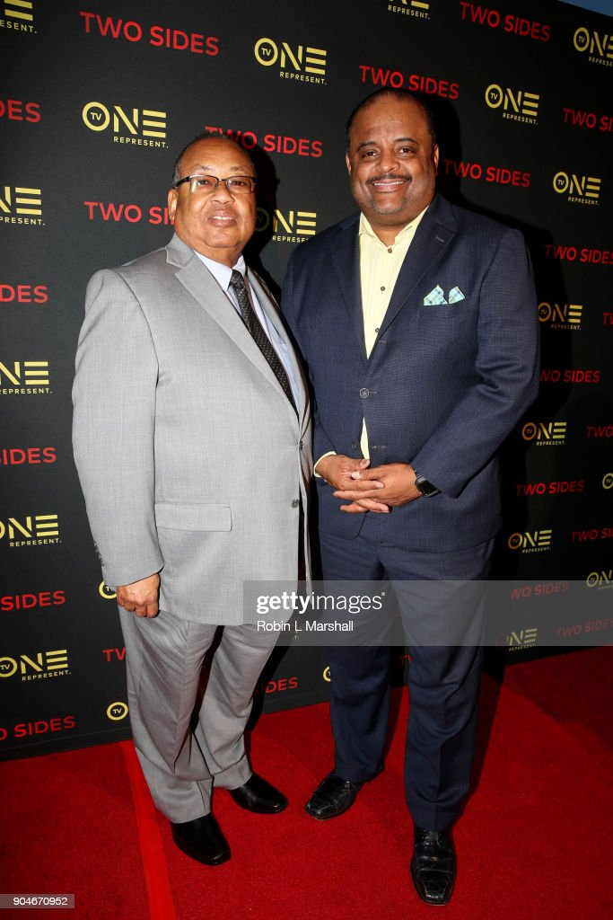 Chairman Leon Russell and TV One Personality Roland Martin attend the NAACP Screening and Social Justice Summit for TV One's 'Two Sides' at First AME Church on January 13, 2018 in Los Angeles, California.