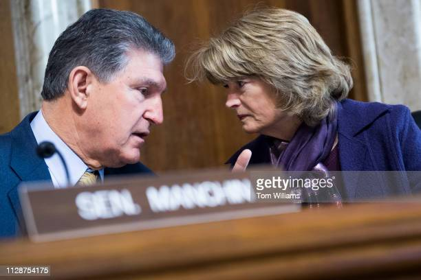 Chairman Lisa Murkowski RAlaska and ranking member Sen Joe Manchin DWVa are seen before a Senate Energy and Natural Resources Committee hearing in...