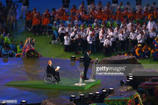 Chairman Lord Sebastian Coe addresses the crowd as President of the IPC Sir Philip Craven MBE looks on during the closing ceremony on day 11 of the...
