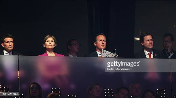 LOCOG Chairman Lord Sebastian Coe his wife Carole Annett Prime Minister David Cameron and Deputy Prime Minister Nick Clegg look on during the closing...