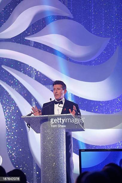 Chairman Lord Sebastian Coe talks on stage during the British Olympic Ball at The Dorchester on October 30 2013 in London England