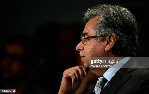 Chairman, Managing Director and Chief Executive officer of Hero MotoCorp, India, Pawan Munjal looks on at the session 'India Economic Update' during...
