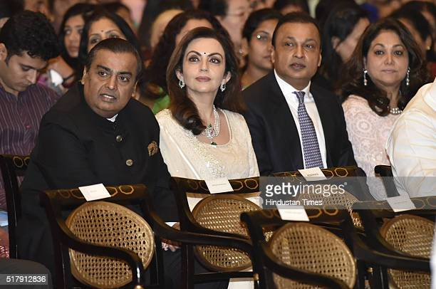 Chairman Managing Director of Reliance Industries Limited Mukesh Ambani his wife Nita Ambani brother and Chairman of Reliance Group Anil Ambani and...