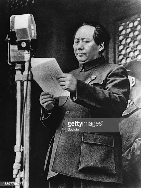 Chairman Mao Tse Tung announces the founding of the People's Republic of China October 1 1949 Peking China
